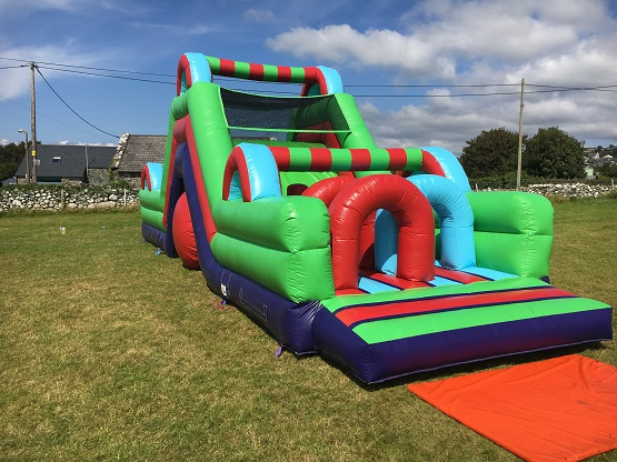 inflatable assault course.