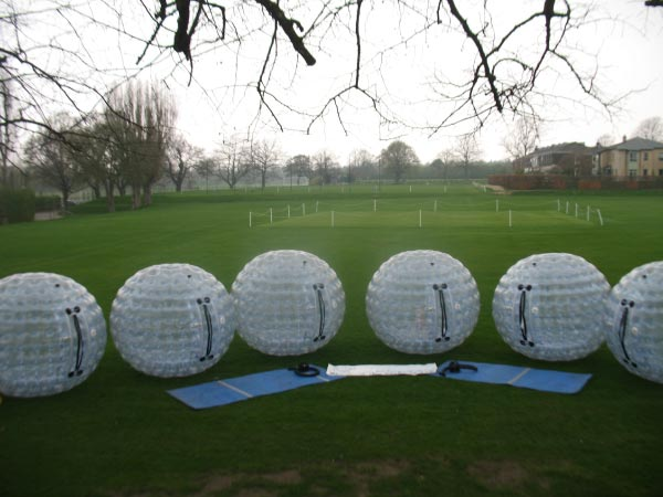 A line-up of our zorbs
